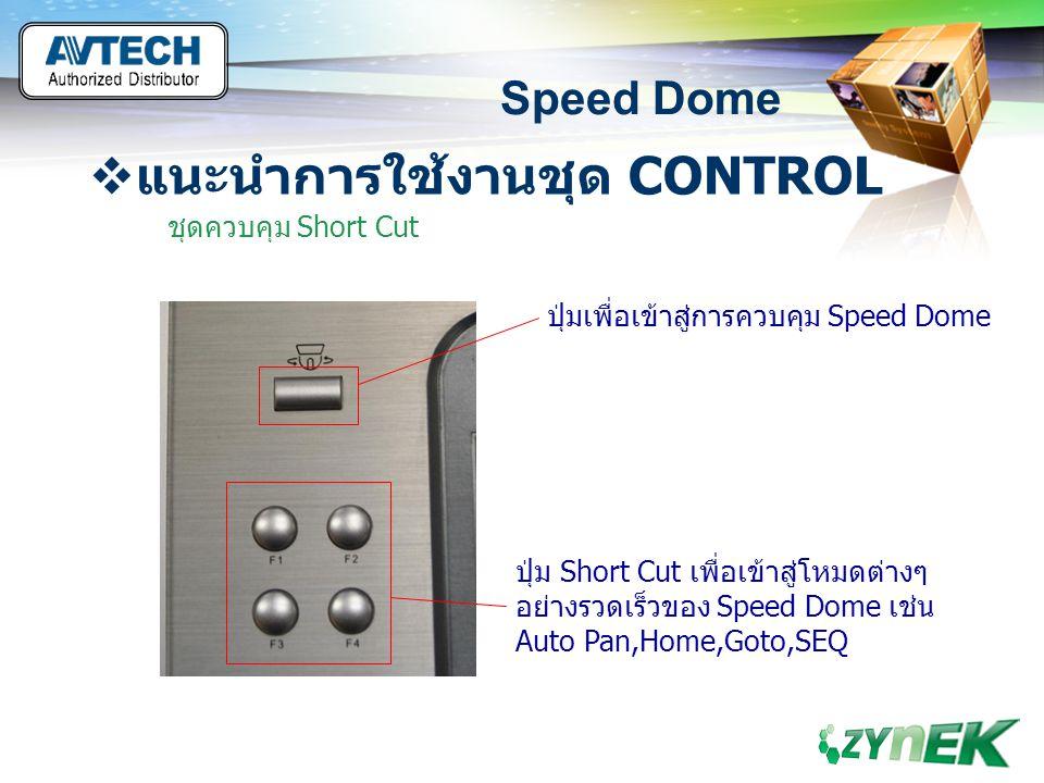 LOGO www.themegallery.com Speed Dome  แนะนำการใช้งานชุด CONTROL ชุดควบคุม Short Cut ปุ่มเพื่อเข้าสู่การควบคุม Speed Dome ปุ่ม Short Cut เพื่อเข้าสู่โ