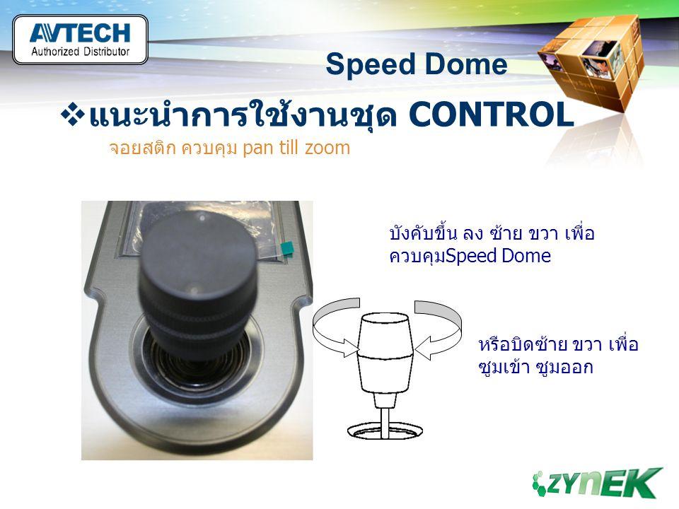 LOGO www.themegallery.com Speed Dome  แนะนำการใช้งานชุด CONTROL จอยสติก ควบคุม pan till zoom บังคับขึ้น ลง ซ้าย ขวา เพื่อ ควบคุมSpeed Dome หรือบิดซ้า