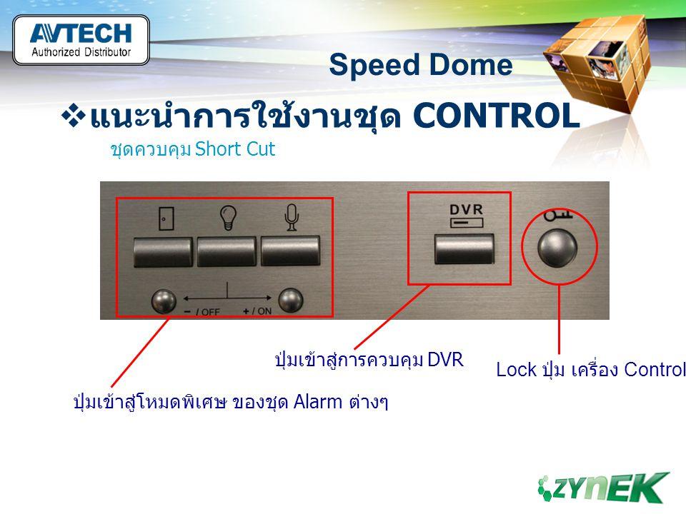 LOGO www.themegallery.com Speed Dome  แนะนำการใช้งานชุด CONTROL ชุดควบคุม Short Cut ปุ่มเข้าสู่โหมดพิเศษ ของชุด Alarm ต่างๆ ปุ่มเข้าสู่การควบคุม DVR