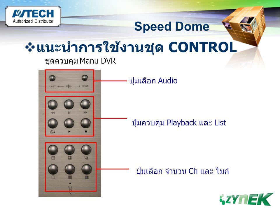 LOGO www.themegallery.com Speed Dome  แนะนำการใช้งานชุด CONTROL ชุดควบคุม Manu DVR ปุ่มเลือก Audio ปุ่มควบคุม Playback และ List ปุ่มเลือก จำนวน Ch แล