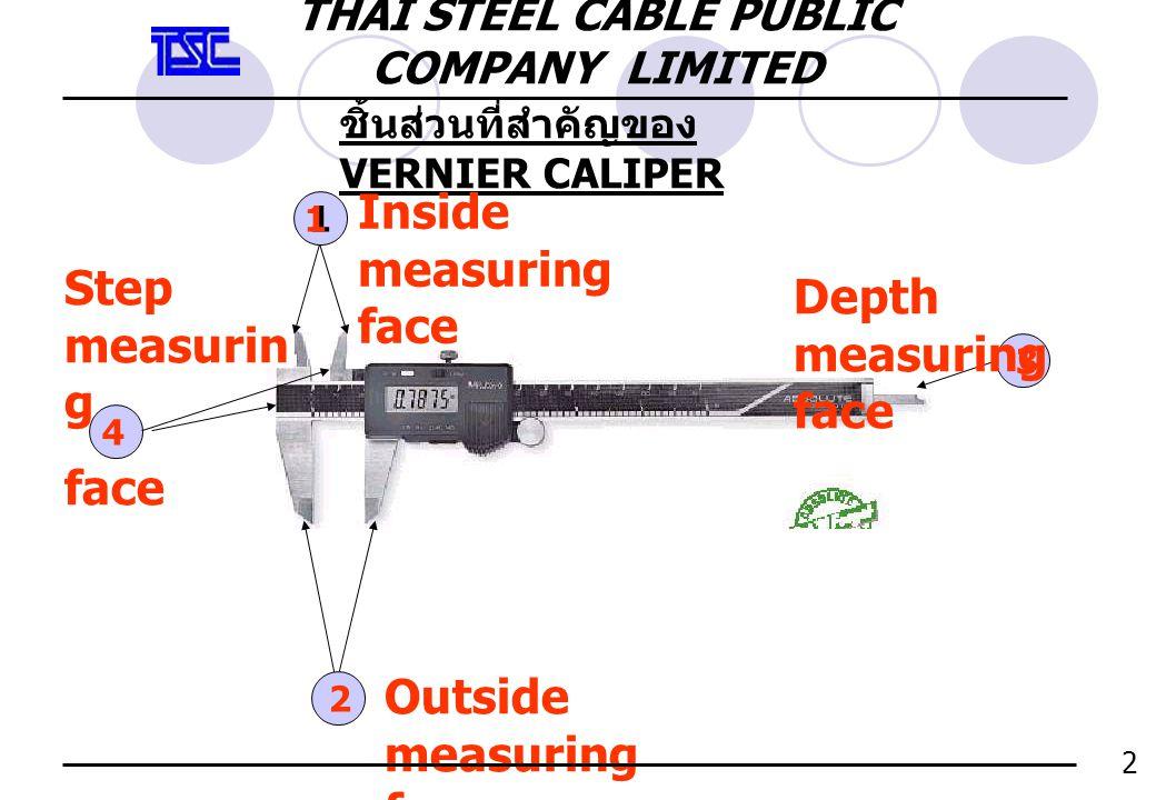 การใช้วัดใน INSIDE 3 A ให้ INSIDE MEASURING FACE สอดเข้าในชิ้นงาน ลึก ที่สุด ข้อ ควร ระวัง ไม่ควรใช้งานที่เป็น DIAMETER กลม เพราะหน้าสัมผัส VERNIER จะไม่วัด ในส่วนที่โตที่สุด ของงาน d D THAI STEEL CABLE PUBLIC COMPANY LIMITED