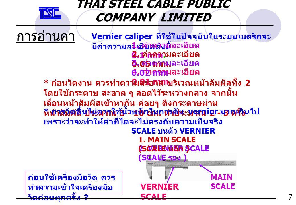 การอ่านค่า vernier Main Scale ช่อง ละ 1 mm.0.05 mm.