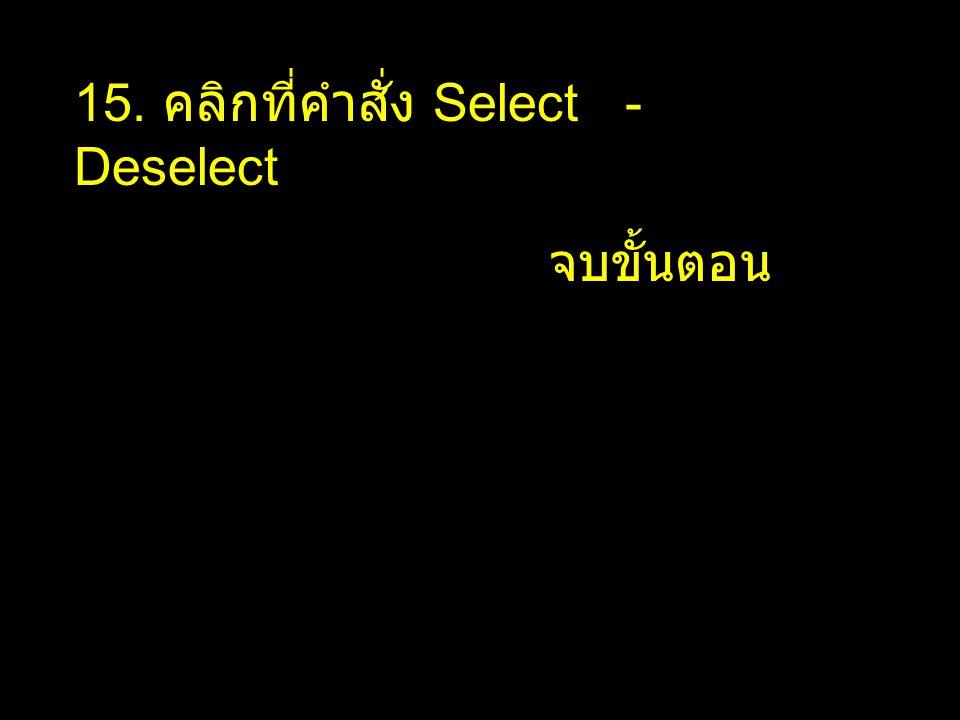 15. คลิกที่คำสั่ง Select - Deselect จบขั้นตอน