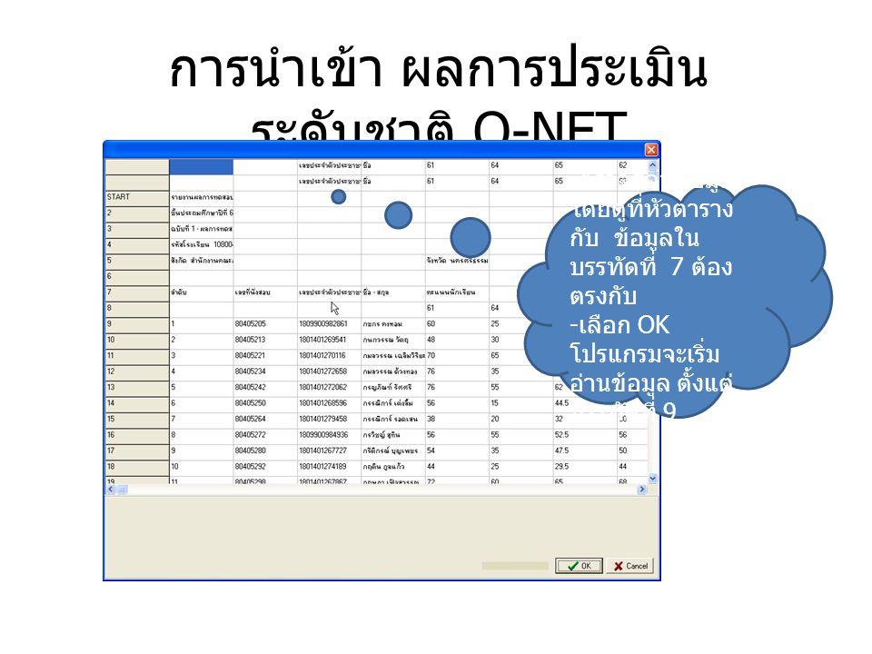 การนำเข้า ผลการประเมิน ระดับชาติ O-NET - ตรวจสอบข้อมูล โดยดูที่หัวตาราง กับ ข้อมูลใน บรรทัดที่ 7 ต้อง ตรงกับ - เลือก OK โปรแกรมจะเริ่ม อ่านข้อมูล ตั้ง