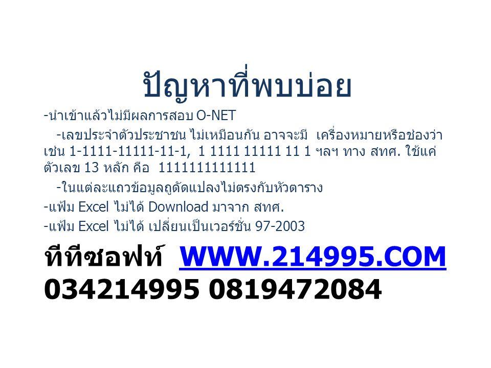 ทีทีซอฟท์ WWW.214995.COM 034214995 0819472084WWW.214995.COM ปัญหาที่พบบ่อย - นำเข้าแล้วไม่มีผลการสอบ O-NET - เลขประจำตัวประชาชน ไม่เหมือนกัน อาจจะมี เ