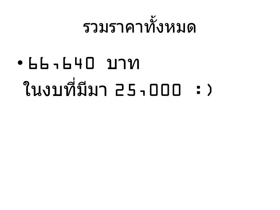 รวมราคาทั้งหมด •66,640 บาท ในงบที่มีมา 25,000 :)
