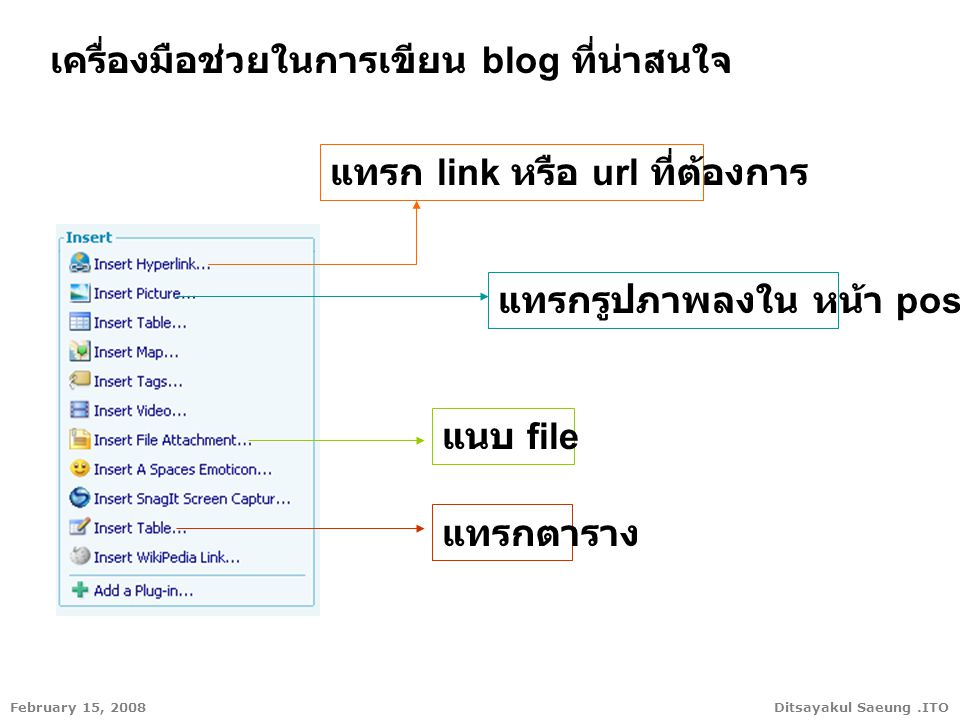 Ditsayakul Saeung.ITOFebruary 15, 2008 เครื่องมือช่วยในการเขียน blog ที่น่าสนใจ แทรก link หรือ url ที่ต้องการ แทรกรูปภาพลงใน หน้า post แนบ file แทรกตาราง