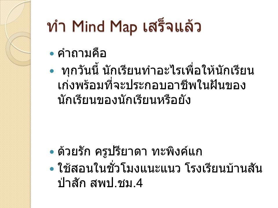 ทำ Mind Map เสร็จแล้ว  คำถามคือ  ทุกวันนี้ นักเรียนทำอะไรเพื่อให้นักเรียน เก่งพร้อมที่จะประกอบอาชีพในฝันของ นักเรียนของนักเรียนหรือยัง  ด้วยรัก ครู
