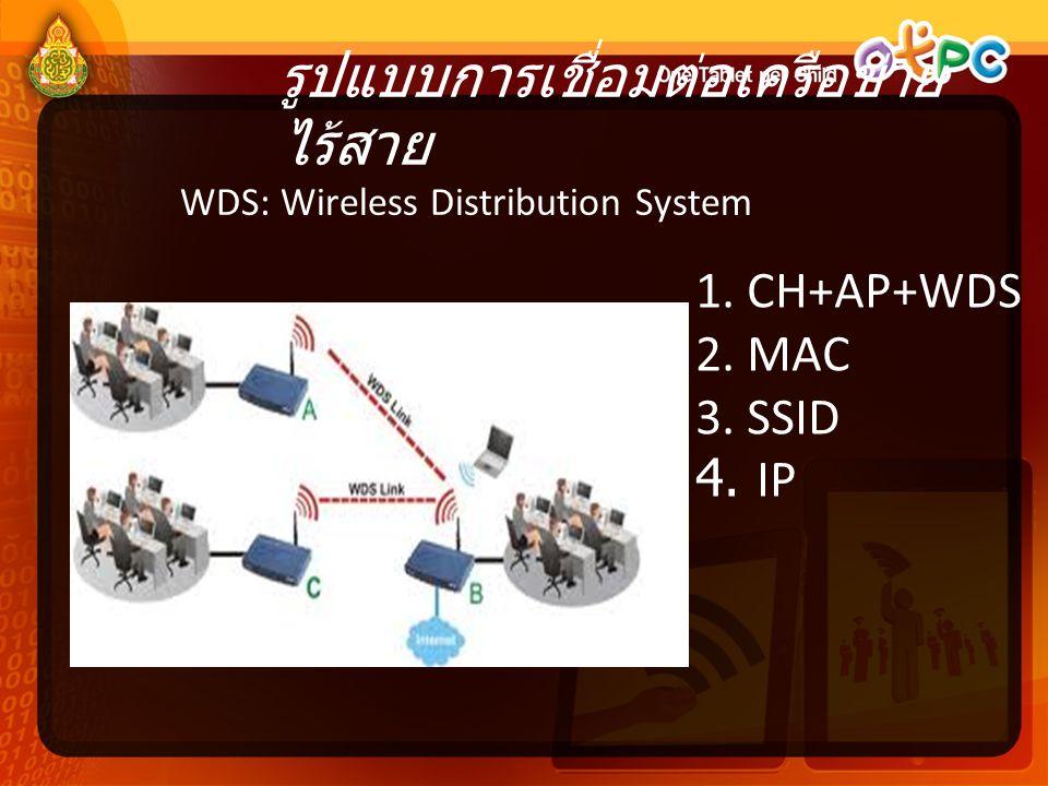 รูปแบบการเชื่อมต่อเครือข่าย ไร้สาย WDS: Wireless Distribution System 1. CH+AP+WDS 2. MAC 3. SSID 4. IP
