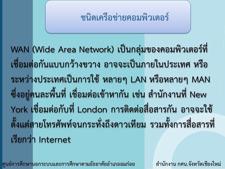 ชนิดเครือข่ายคอมพิวเตอร์ ศูนย์การศึกษานอกระบบและการศึกษาตามอัธยาศัยอำเภออมก๋อย สำนักงาน กศน.จังหวัดเชียงใหม่ WAN (Wide Area Network) เป็นกลุ่มของคอมพิ