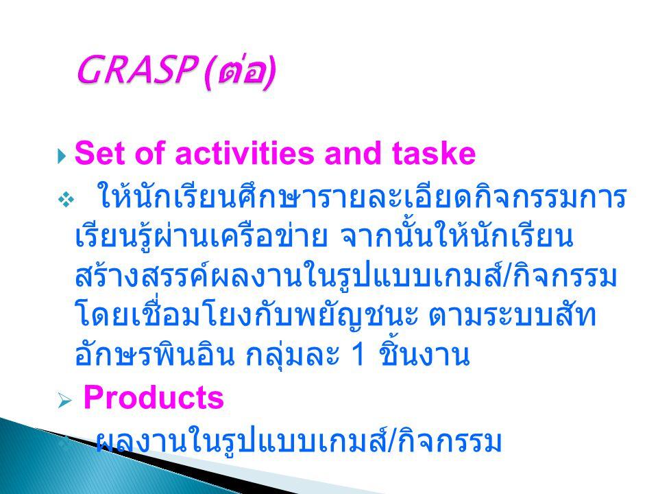  Set of activities and taske  ให้นักเรียนศึกษารายละเอียดกิจกรรมการ เรียนรู้ผ่านเครือข่าย จากนั้นให้นักเรียน สร้างสรรค์ผลงานในรูปแบบเกมส์ / กิจกรรม โ