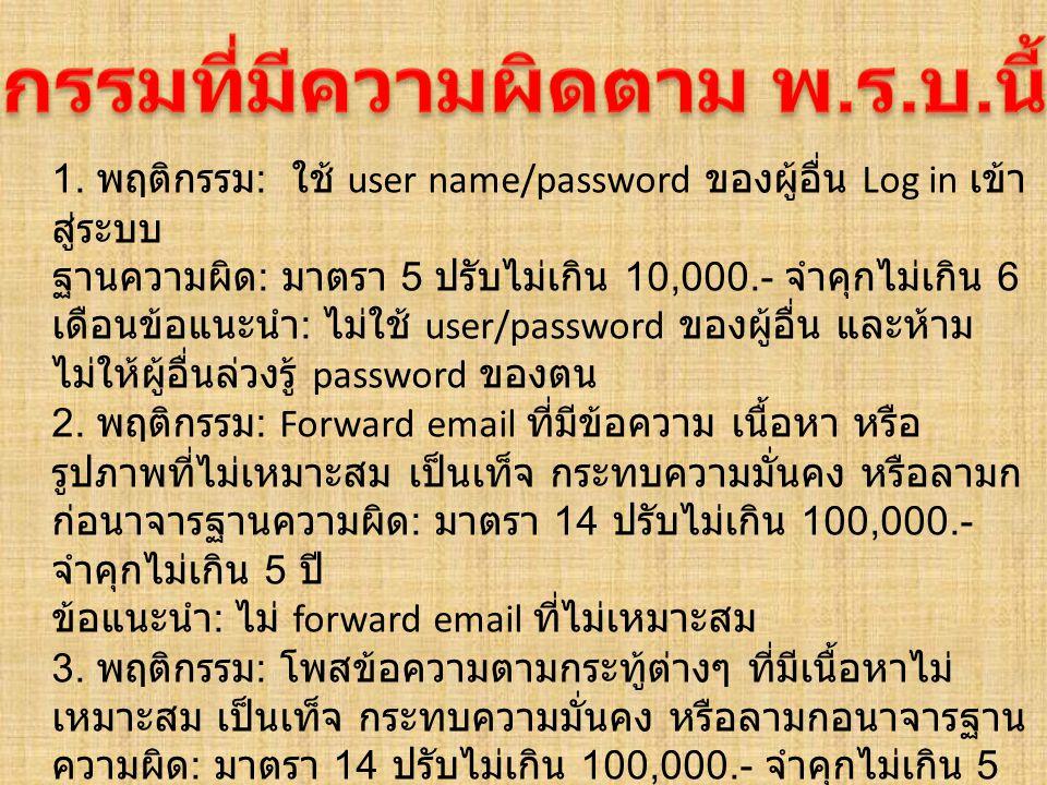 1. พฤติกรรม : ใช้ user name/password ของผู้อื่น Log in เข้า สู่ระบบ ฐานความผิด : มาตรา 5 ปรับไม่เกิน 10,000.- จำคุกไม่เกิน 6 เดือนข้อแนะนำ : ไม่ใช้ us