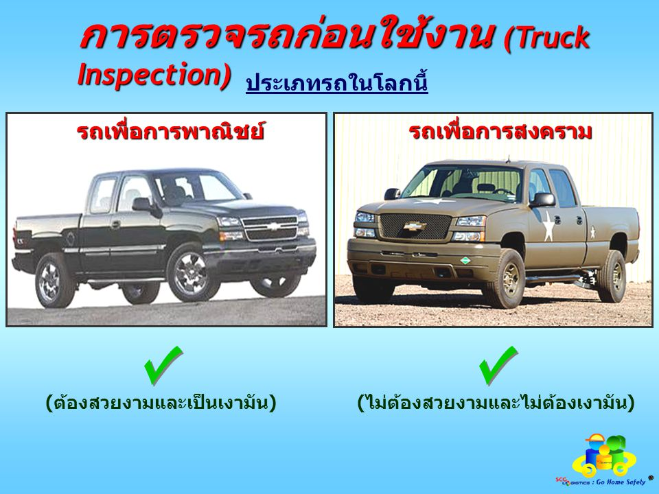 การตรวจรถก่อนใช้งาน (Truck Inspection) (ต้องการให้คนเห็นจะได้ปลอดภัย) (ไม่ต้องการให้คนเห็นจะได้ปลอดภัย) ประเภทรถในโลกนี้ รถเพื่อการพาณิชย์ รถเพื่อการสงคราม