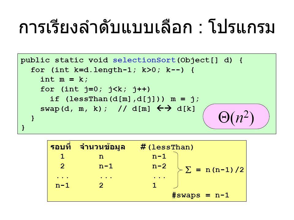 การเรียงลำดับแบบฟอง (Bubble Sort) • เรียงลำดับข้อมูล d[0] ถึง d[k] • เปรียบเทียบคู่ที่ติดกัน จาก 0 ถึง k – สลับกันถ้ากลับลำดับ • ขนาดของกลุ่มลดลงหนึ่ง • ไปเรียงลำดับ d[0] ถึง d[k-1] •...