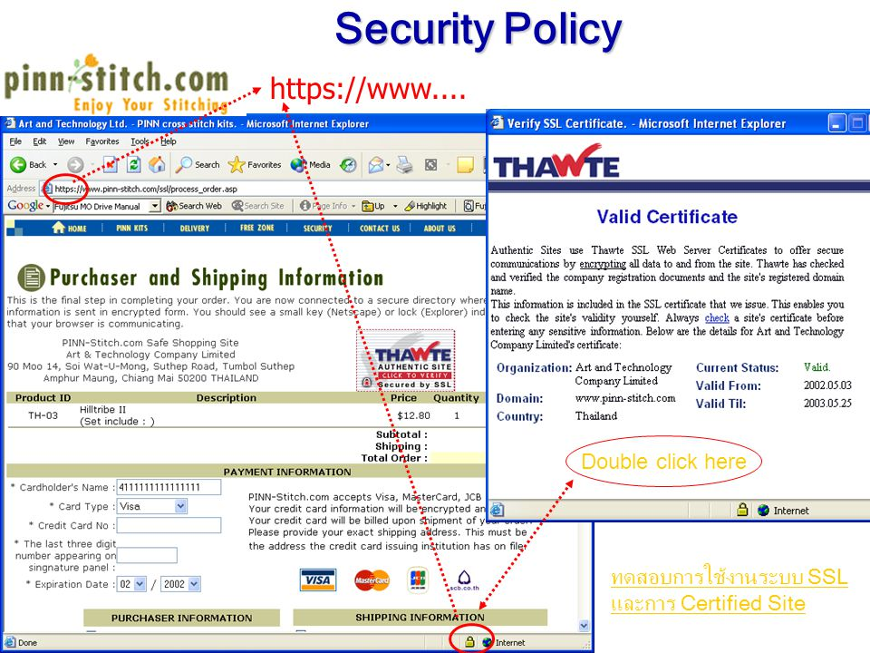 https://www.... Security Policy ทดสอบการใช้งานระบบ SSL และการ Certified Site Double click here