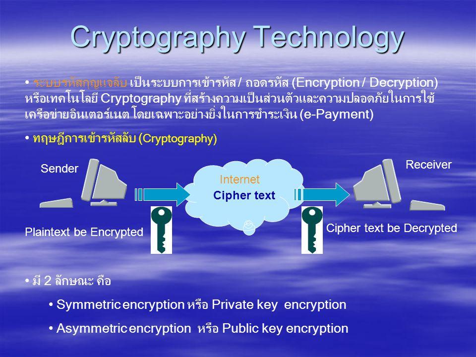 Internet Cryptography Technology • ระบบรหัสกุญแจลับ เป็นระบบการเข้ารหัส / ถอดรหัส (Encryption / Decryption) หรือเทคโนโลยี Cryptography ที่สร้างความเป็นส่วนตัวและความปลอดภัยในการใช้ เครือข่ายอินเตอร์เนต โดยเฉพาะอย่างยิ่งในการชำระเงิน (e-Payment) • ทฤษฎีการเข้ารหัสลับ ( Cryptography) • มี 2 ลักษณะ คือ • Symmetric encryption หรือ Private key encryption • Asymmetric encryption หรือ Public key encryption Plaintext be Encrypted Cipher text Sender Cipher text be Decrypted Receiver