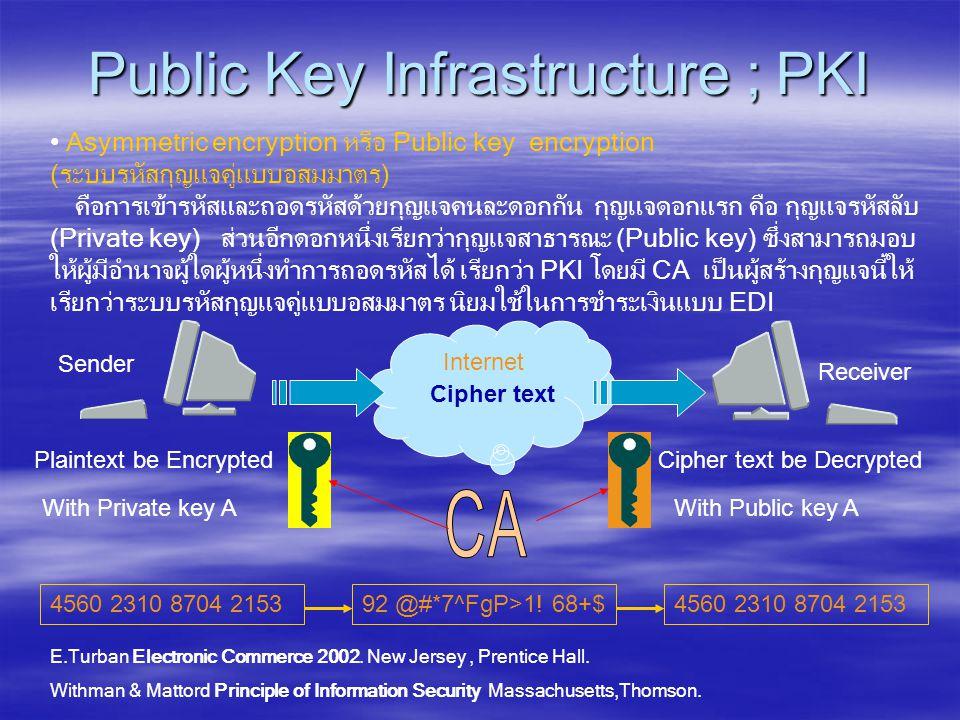 Internet Public Key Infrastructure ; PKI • Asymmetric encryption หรือ Public key encryption (ระบบรหัสกุญแจคู่แบบอสมมาตร) คือการเข้ารหัสและถอดรหัสด้วยกุญแจคนละดอกกัน กุญแจดอกแรก คือ กุญแจรหัสลับ (Private key) ส่วนอีกดอกหนึ่งเรียกว่ากุญแจสาธารณะ (Public key) ซึ่งสามารถมอบ ให้ผู้มีอำนาจผู้ใดผู้หนึ่งทำการถอดรหัสได้ เรียกว่า PKI โดยมี CA เป็นผู้สร้างกุญแจนี้ให้ เรียกว่าระบบรหัสกุญแจคู่แบบอสมมาตร นิยมใช้ในการชำระเงินแบบ EDI Plaintext be Encrypted Cipher text Sender Cipher text be Decrypted Receiver With Private key AWith Public key A 4560 2310 8704 215392 @#*7^FgP>1.