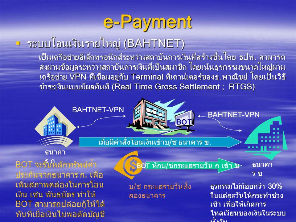 e-Payment  ระบบโอนเงินรายย่อย (Media Clearing) เป็นเครือข่ายอีเล็กทรอนิกส์แบบ BAHTNET แต่มีธุรกรรมไม่เกิน 500,000 บาท ต่อวัน และไม่เป็น RTGS ต้องรอรวบรวมธุรกรรมไว้จนหมดสิ้นวัน จึงส่งข้อมูล เข้าชำระบัญชีระหว่างธนาคารที่ BOT (Batching Process) วันละ 1 ครั้ง ในรูป ของไฟล์อีเล็กทรอนิกส์ ผู้รับโอนเงินจะได้รับเงินในวันรุ่งชึ้น เป็นเครือข่ายอีเล็กทรอนิกส์แบบ BAHTNET แต่มีธุรกรรมไม่เกิน 500,000 บาท ต่อวัน และไม่เป็น RTGS ต้องรอรวบรวมธุรกรรมไว้จนหมดสิ้นวัน จึงส่งข้อมูล เข้าชำระบัญชีระหว่างธนาคารที่ BOT (Batching Process) วันละ 1 ครั้ง ในรูป ของไฟล์อีเล็กทรอนิกส์ ผู้รับโอนเงินจะได้รับเงินในวันรุ่งชึ้น BOT เมื่อมีคำสั่งโอนเงินเข้าบ / ช ธนาคาร ผู้รับโอน ธนาคาร ผู้ โอน ธนาคาร ผู้รับ โอน รวบรวมทุก Transaction เป็น 1 file BOT จะรับไฟล์อีเล็กทรอนิกส์วันละ 1 ครั้ง (Batch File) BAHTNET-VPN ธุรกรรมย่อยได้แก่ การโอน เงินจากบัญชีบริษัท เข้าบัญชี เงินเดือนพนักงาน