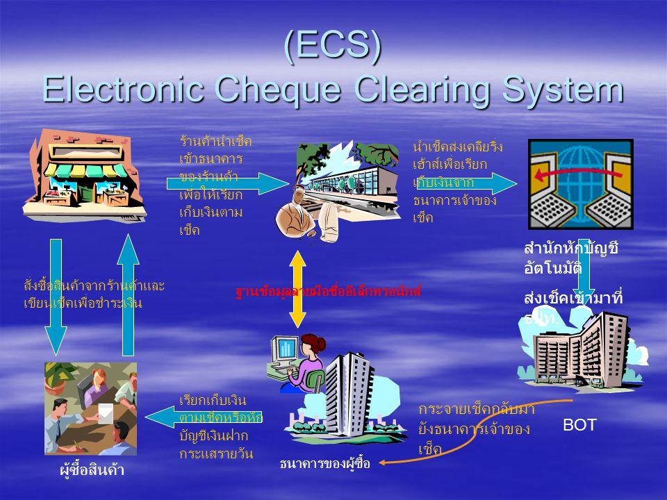 (ECS) Electronic Cheque Clearing System สั่งซื้อสินค้าจากร้านค้าและ เขียนเช็คเพื่อชำระเงิน ร้านค้านำเช็ค เข้าธนาคาร ของร้านค้า เพื่อให้เรียก เก็บเงินตาม เช็ค นำเช็คส่งเคลียริ่ง เฮ้าส์เพื่อเรียก เก็บเงินจาก ธนาคารเจ้าของ เช็ค ฐานข้อมูลลายมือชื่ออีเล็กทรอนิกส์ ธนาคารของผู้ซื้อ ผู้ซื้อสินค้า เรียกเก็บเงิน ตามเช็คหรือหัก บัญชีเงินฝาก กระแสรายวัน BOT สำนักหักบัญชี อัตโนมัติ ส่งเช็คเข้ามาที่ ธปท.