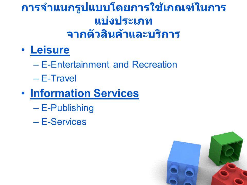การจำแนกรูปแบบโดยการใช้เกณฑ์ในการ แบ่งประเภท จากตัวสินค้าและบริการ •Leisure –E-Entertainment and Recreation –E-Travel •Information Services –E-Publishing –E-Services