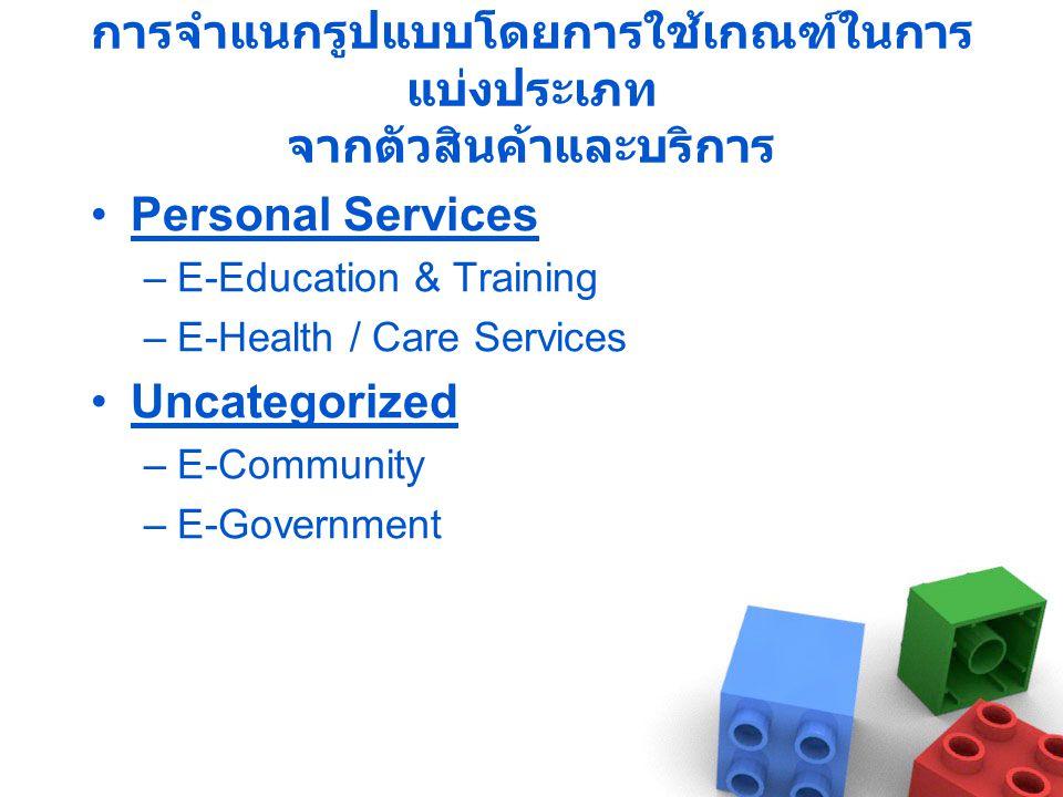 การจำแนกรูปแบบโดยการใช้เกณฑ์ในการ แบ่งประเภท จากตัวสินค้าและบริการ •Personal Services –E-Education & Training –E-Health / Care Services •Uncategorized –E-Community –E-Government