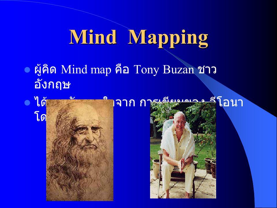 Mind Mapping  ผู้คิด Mind map คือ Tony Buzan ชาว อังกฤษ  ได้แรงบันดาลใจจาก การเขียนของ ลีโอนา โด ดาวินซี
