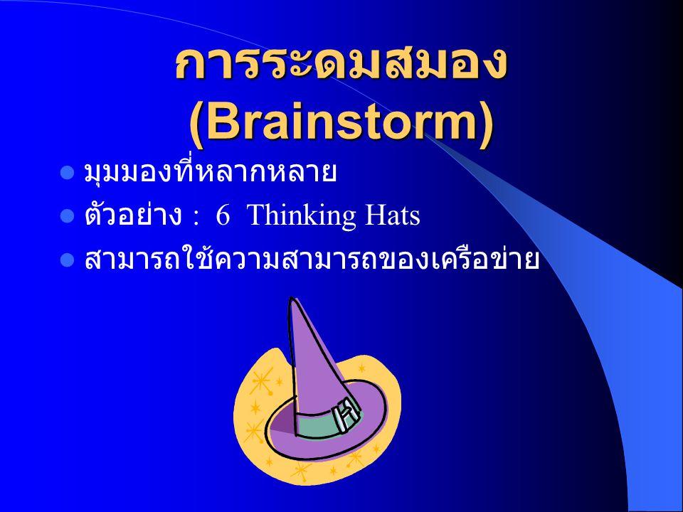 การระดมสมอง (Brainstorm)  มุมมองที่หลากหลาย  ตัวอย่าง : 6 Thinking Hats  สามารถใช้ความสามารถของเครือข่าย