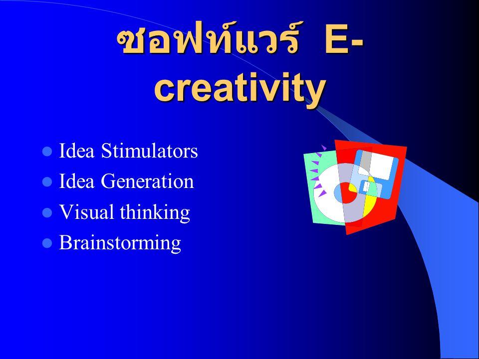 ซอฟท์แวร์ E- creativity  Idea Stimulators  Idea Generation  Visual thinking  Brainstorming