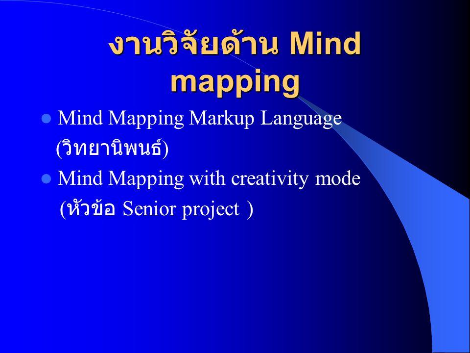 งานวิจัยด้าน Mind mapping  Mind Mapping Markup Language ( วิทยานิพนธ์ )  Mind Mapping with creativity mode ( หัวข้อ Senior project )