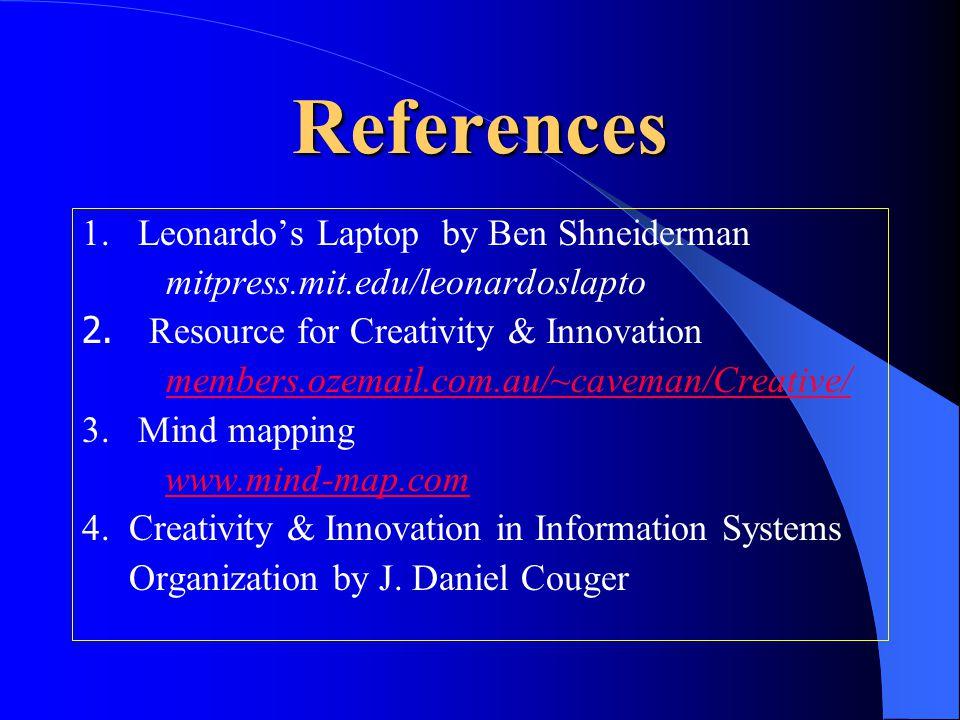 References 1. Leonardo's Laptop by Ben Shneiderman mitpress.mit.edu/leonardoslapto 2. Resource for Creativity & Innovation members.ozemail.com.au/~cav