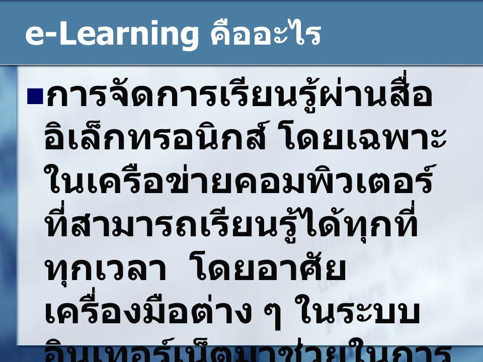 พัฒนาการของ e- Learning  Web Authoring  Web Programming  Learning Management System  Virtual Learning Environment
