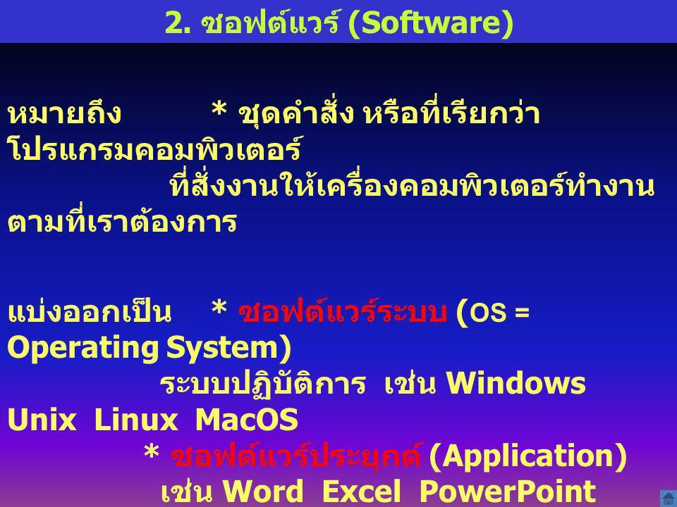 2. ซอฟต์แวร์ (Software) หมายถึง * ชุดคำสั่ง หรือที่เรียกว่า โปรแกรมคอมพิวเตอร์ ที่สั่งงานให้เครื่องคอมพิวเตอร์ทำงาน ตามที่เราต้องการ แบ่งออกเป็น * ซอฟ