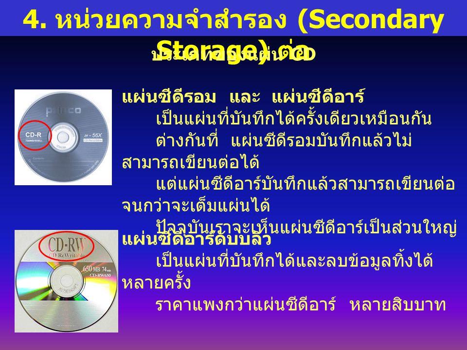4. หน่วยความจำสำรอง (Secondary Storage) ต่อ ประเภทของแผ่น CD แผ่นซีดีรอม และ แผ่นซีดีอาร์ เป็นแผ่นที่บันทึกได้ครั้งเดียวเหมือนกัน ต่างกันที่ แผ่นซีดีร