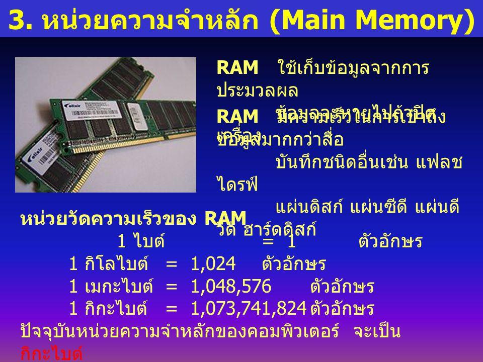 3. หน่วยความจำหลัก (Main Memory) RAM ใช้เก็บข้อมูลจากการ ประมวลผล ข้อมูลจะหายไปถ้าปิด เครื่อง RAM มีความเร็วในการเข้าถึง ข้อมูลมากกว่าสื่อ บันทึกชนิดอ