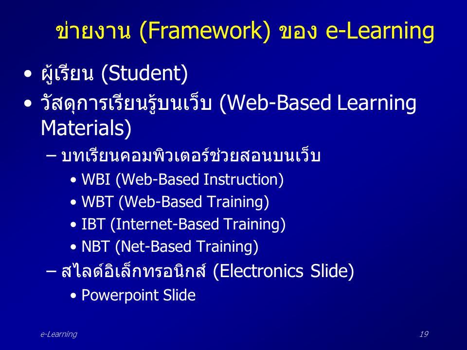 e-Learning19 ข่ายงาน (Framework) ของ e-Learning •ผู้เรียน (Student) •วัสดุการเรียนรู้บนเว็บ (Web-Based Learning Materials) –บทเรียนคอมพิวเตอร์ช่วยสอนบ