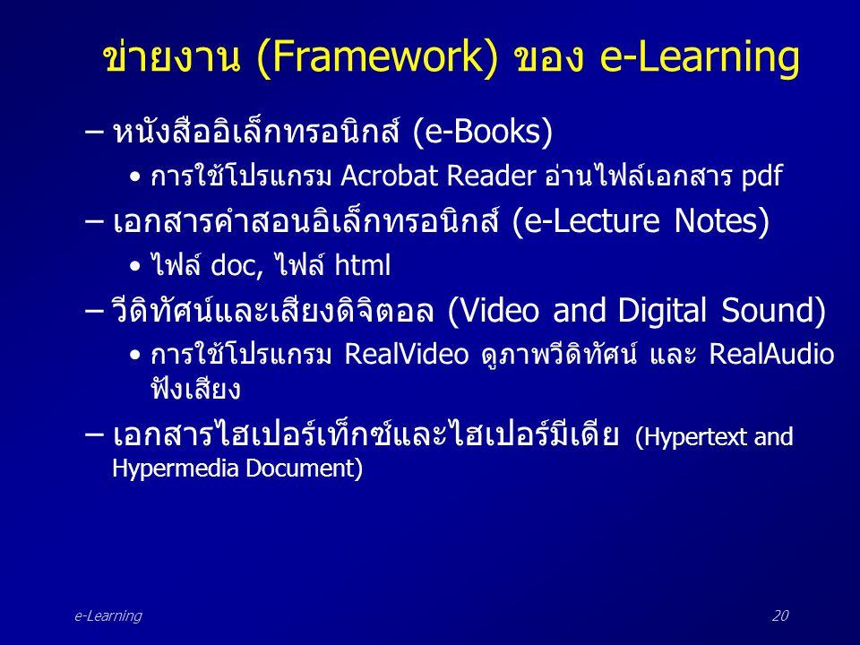 e-Learning20 ข่ายงาน (Framework) ของ e-Learning –หนังสืออิเล็กทรอนิกส์ (e-Books) •การใช้โปรแกรม Acrobat Reader อ่านไฟล์เอกสาร pdf –เอกสารคำสอนอิเล็กทร