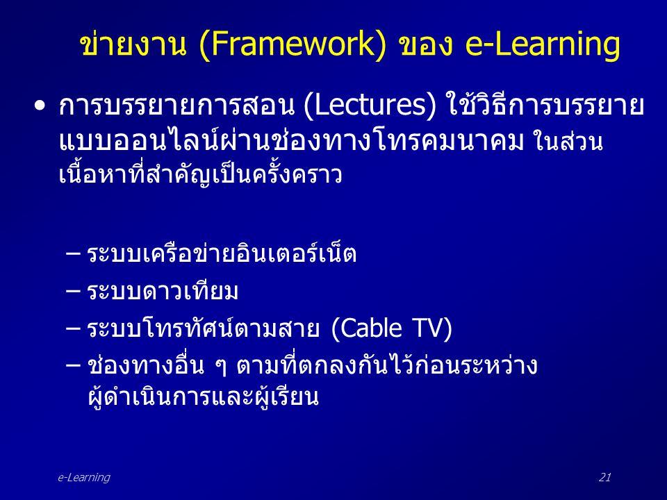 e-Learning21 ข่ายงาน (Framework) ของ e-Learning •การบรรยายการสอน (Lectures) ใช้วิธีการบรรยาย แบบออนไลน์ผ่านช่องทางโทรคมนาคม ในส่วน เนื้อหาที่สำคัญเป็น