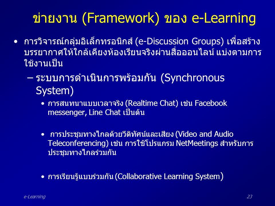 e-Learning23 ข่ายงาน (Framework) ของ e-Learning •การวิจารณ์กลุ่มอิเล็กทรอนิกส์ (e-Discussion Groups) เพื่อสร้าง บรรยากาศให้ใกล้เคียงห้องเรียนจริงผ่านส