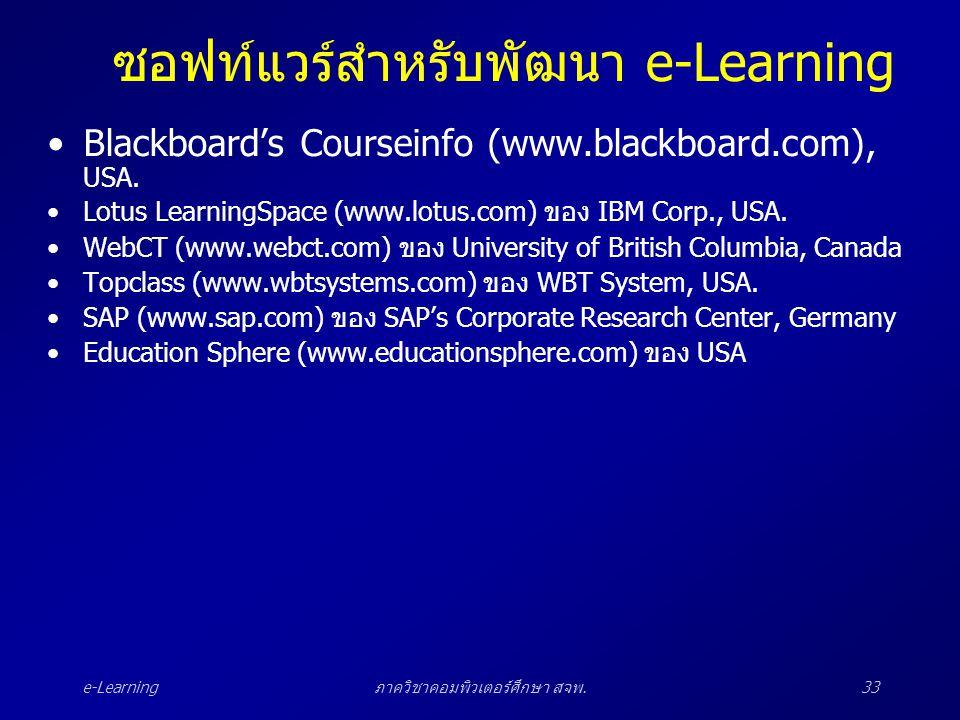 e-Learningภาควิชาคอมพิวเตอร์ศึกษา สจพ.33 ซอฟท์แวร์สำหรับพัฒนา e-Learning •Blackboard's Courseinfo (www.blackboard.com), USA. •Lotus LearningSpace (www