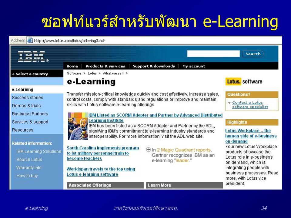 e-Learningภาควิชาคอมพิวเตอร์ศึกษา สจพ.34 ซอฟท์แวร์สำหรับพัฒนา e-Learning