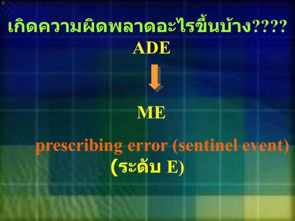 เกิดความผิดพลาดอะไรขึ้นบ้าง ???? ADE ME prescribing error (sentinel event) ( ระดับ E)