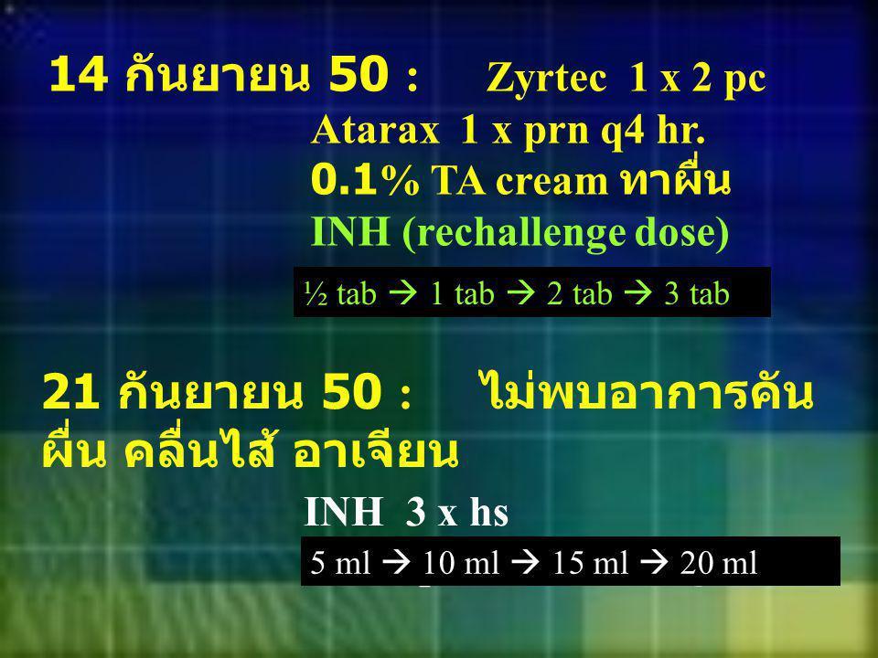 14 กันยายน 50 : Zyrtec 1 x 2 pc Atarax 1 x prn q4 hr. 0.1% TA cream ทาผื่น INH (rechallenge dose) ½ tab  1 tab  2 tab  3 tab 21 กันยายน 50 : ไม่พบอ