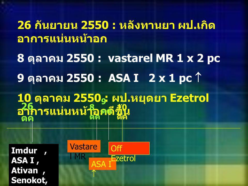 26 กันยายน 2550 : หลังทานยา ผป. เกิด อาการแน่นหน้าอก 8 ตุลาคม 2550 : vastarel MR 1 x 2 pc 9 ตุลาคม 2550 : ASA I 2 x 1 pc  10 ตุลาคม 2550 : ผป. หยุดยา