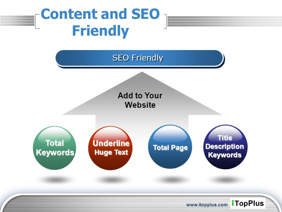LOGO Content and SEO Friendly SEO Friendly Add to Your Website Total Keywords Underline Huge Text Total Page TitleDescriptionKeywords www.itopplus.com