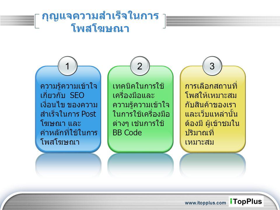 LOGO กุญแจความสำเร็จในการ โพสโฆษณา 1 ความรู้ความเข้าใจ เกี่ยวกับ SEO เงื่อนไข ของความ สำเร็จในการ Post โฆษณา และ คำหลักที่ใช้ในการ โพสโฆษณา 2 เทคนิคใน