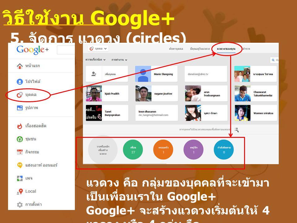 5. จัดการ แวดวง (circles) วิธีใช้งาน Google+ แวดวง คือ กลุ่มของบุคคลที่จะเข้ามา เป็นเพื่อนเราใน Google+ Google+ จะสร้างแวดวงเริ่มต้นให้ 4 แวดวง หรือ 4