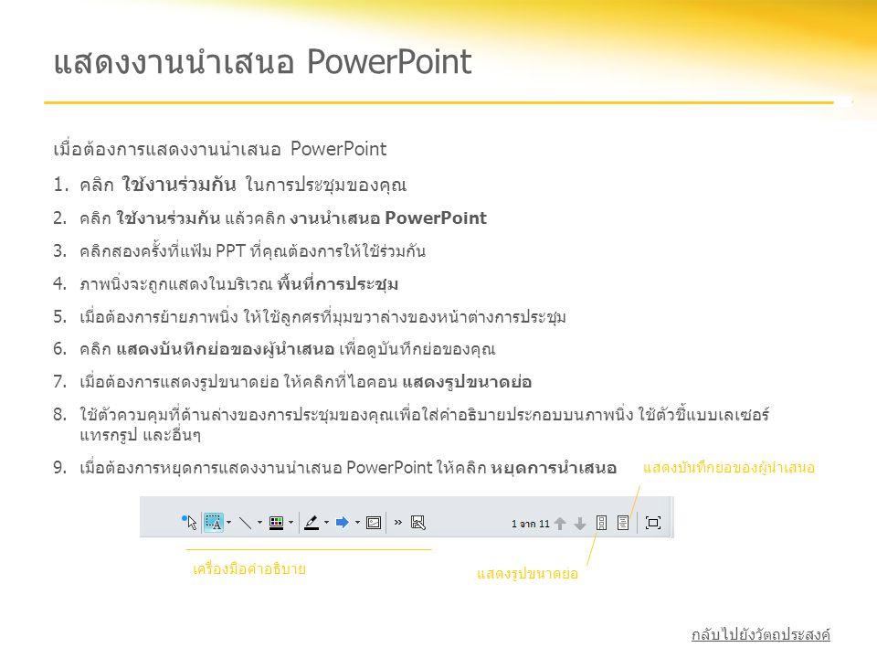 แสดงงานนำเสนอ PowerPoint เมื่อต้องการแสดงงานนำเสนอ PowerPoint 1.คลิก ใช้งานร่วมกัน ในการประชุมของคุณ 2.คลิก ใช้งานร่วมกัน แล้วคลิก งานนำเสนอ PowerPoin