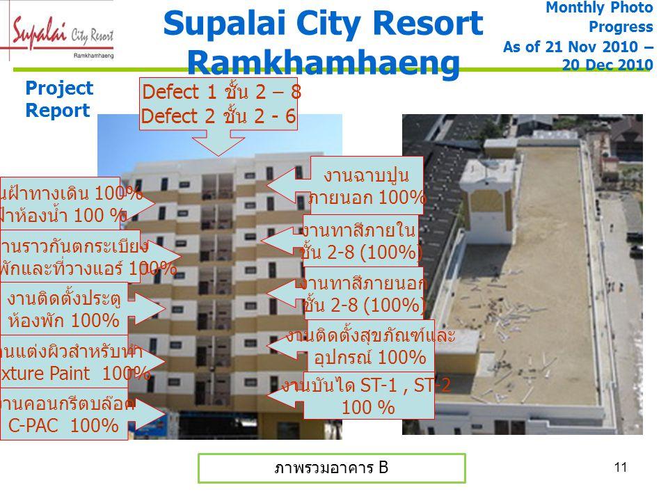 11 Supalai City Resort Ramkhamhaeng Project Report ภาพรวมอาคาร B Monthly Photo Progress As of 21 Nov 2010 – 20 Dec 2010 งานราวกันตกระเบียง ห้องพักและท