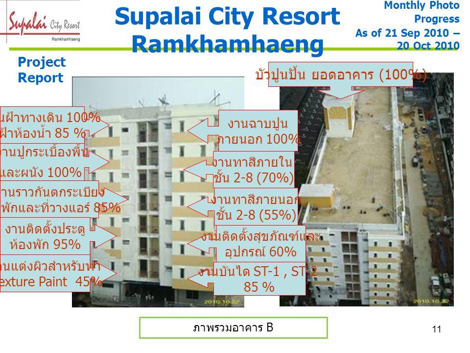 11 Supalai City Resort Ramkhamhaeng Project Report ภาพรวมอาคาร B Monthly Photo Progress As of 21 Sep 2010 – 20 Oct 2010 งานราวกันตกระเบียง ห้องพักและท