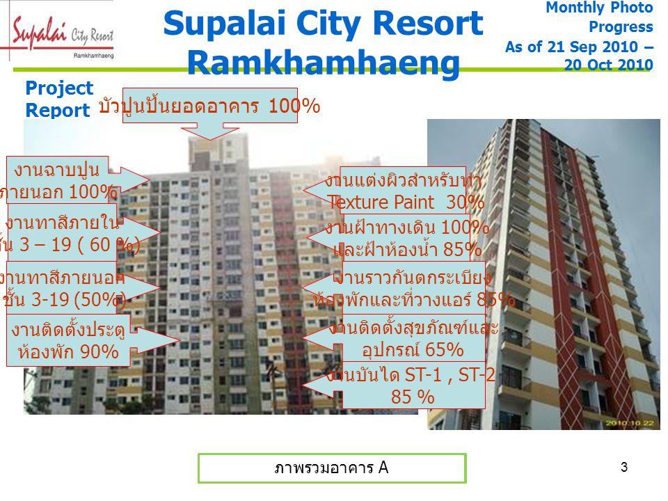 3 Supalai City Resort Ramkhamhaeng Monthly Photo Progress As of 21 Sep 2010 – 20 Oct 2010 ภาพรวมอาคาร A และ B ภาพรวมอาคาร A Project Report งานฉาบปูน ภ